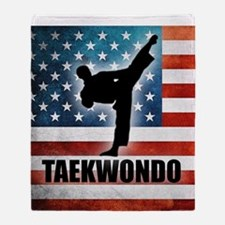 Taekwondo fighter USA American Flag Throw Blanket