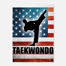 Taekwondo fighter USA American Flag 5'x7'Area Rug