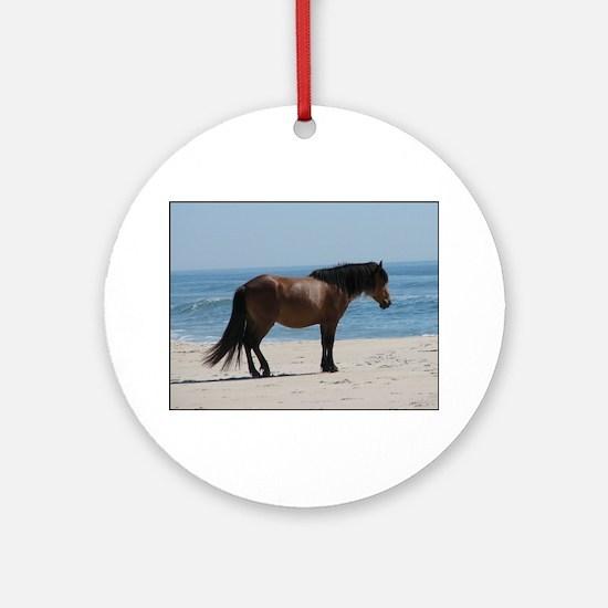 Wild Pony on Beach Ornament (Round)