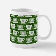 Tea Cups with Hearts - Green Mug