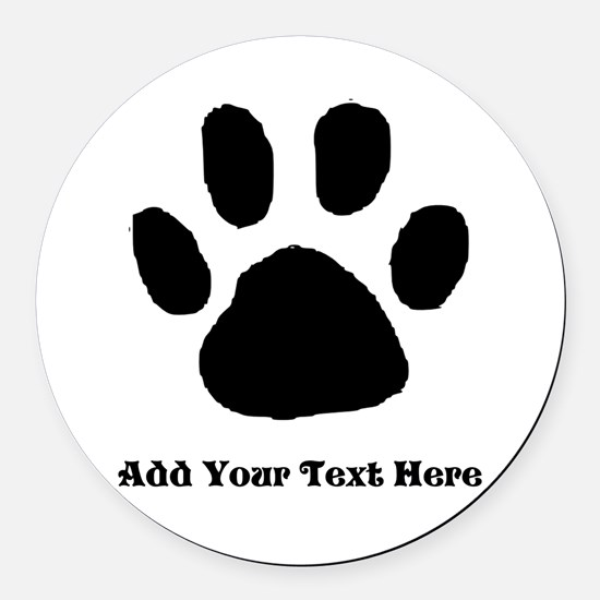 Paw Print Template Round Car Magnet