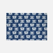 Tea Cups with Hearts - Dark Blue Rectangle Magnet