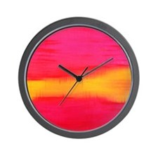ROTHKO PINK RED YELLOW Wall Clock