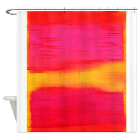 Rothko Pink Red Yellow Shower Curtain By Thingscollectable
