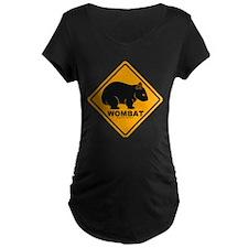 Wombat Sign Maternity Black T-Shirt