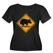 Wombat Sign Women's Plus Size Scoop Neck Dark Tee