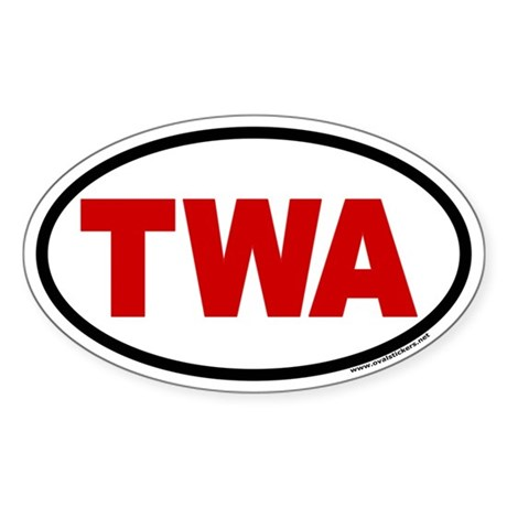 TWA with Red Letters Oval Euro Style Sticker