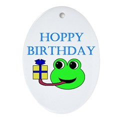 HOPPY BDAY Oval Ornament