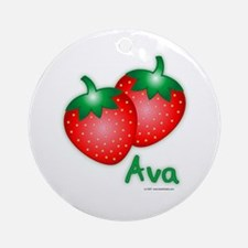 """Ava"" Strawberry Ornament (Round)"