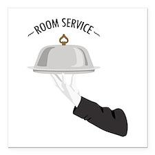 "Room Service Square Car Magnet 3"" x 3"""