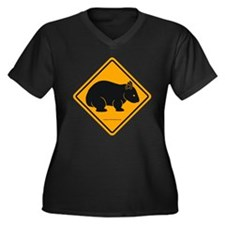 Wombat Sign II Women's Plus Size V-Neck Dark Tee