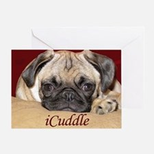 Adorable iCuddle Pug Puppy Greeting Card