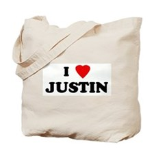I Love JUSTIN Tote Bag