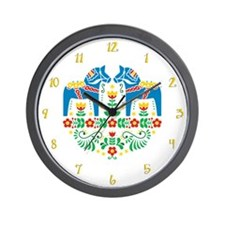 Swedish Dala Horse Wall Clock