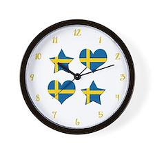 Swedish Hearts and Stars Wall Clock