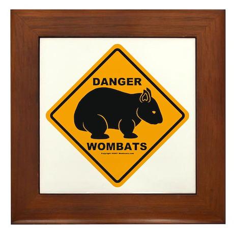 Wombat Danger Framed Tile