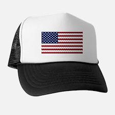 Bones and Heart Prints American Flag Trucker Hat