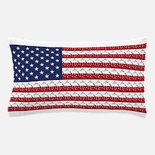 Bones and Heart Prints American Flag Pillow Case