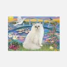 Lilies & White Persian Rectangle Magnet