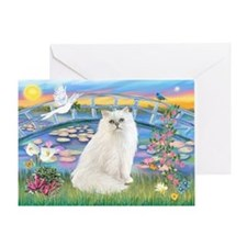 Lilies & White Persian Greeting Card