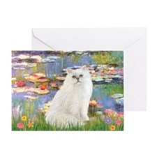 Monet's Lilies & White Persia Greeting Card