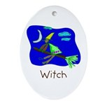 Kid Art Witch Oval Ornament