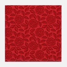 Engraved Roses - Red Tile Coaster