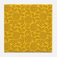Engraved Roses - Gold Tile Coaster
