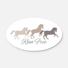 Wild Horses Running Free Oval Car Magnet