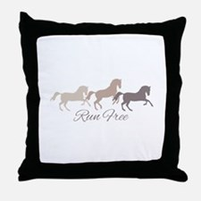 Wild Horses Running Free Throw Pillow