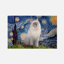 Starry Night Ragdoll Rectangle Magnet