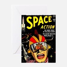 Vintage Space Action Comic Cover Sci Greeting Card