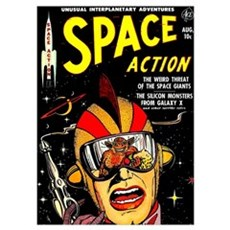Vintage Space Action Comic Cover Sci-Fi Poster