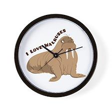 Love Walruses Wall Clock