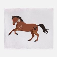 Native American War Horse Throw Blanket