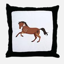 Native American War Horse Throw Pillow