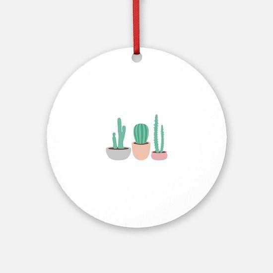 Potted Cactus Desert Plants Ornament (Round)