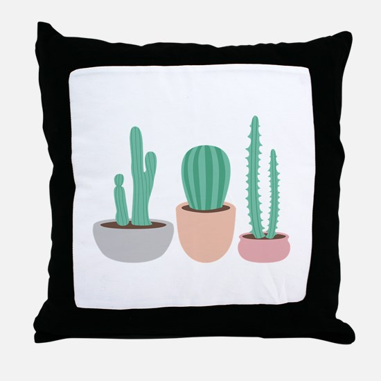 Potted Cactus Desert Plants Throw Pillow