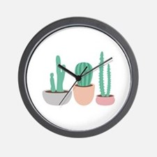 Potted Cactus Desert Plants Wall Clock
