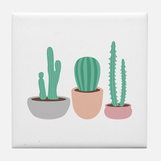 Potted Cactus Desert Plants Tile Coaster