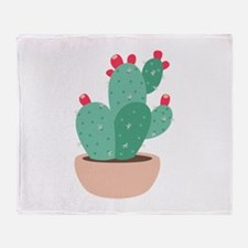 Prickly Pear Cactus Plant Throw Blanket
