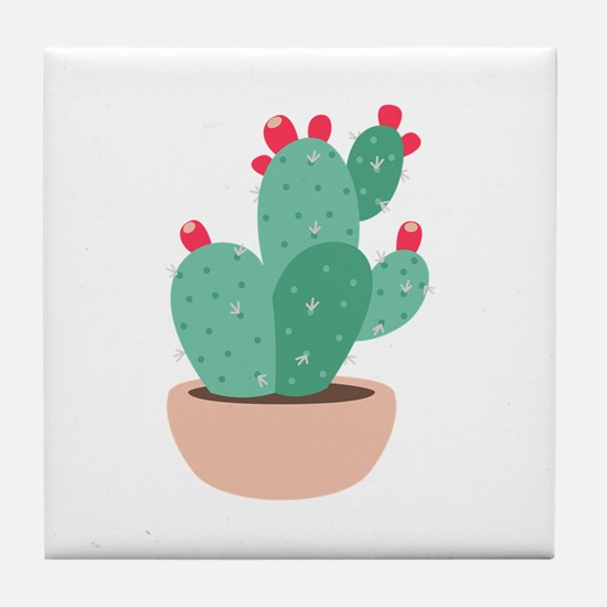 Prickly Pear Cactus Plant Tile Coaster