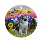 Keeshond in Mountain CountryOrnament (Round)
