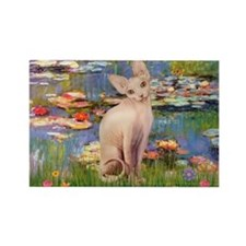 Sphynx cat and lilies. Rectangle Magnet