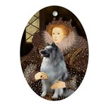 The Queen's Keeshond Oval Ornament
