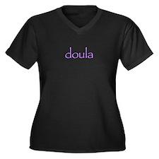 Doula Transparent Women's Plus Size V-Neck Dark T-