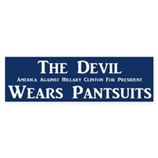 The Devil Wears Pantsuits Bumper Bumper Sticker