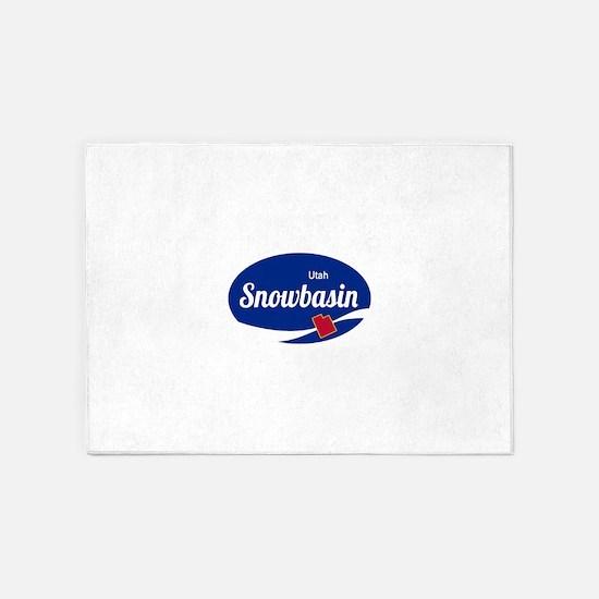 Snowbasin Ski Resort Utah oval 5'x7'Area Rug