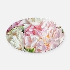 Blooming Peonies Oval Car Magnet