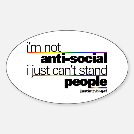 I'm Not Anti-Social Oval Decal